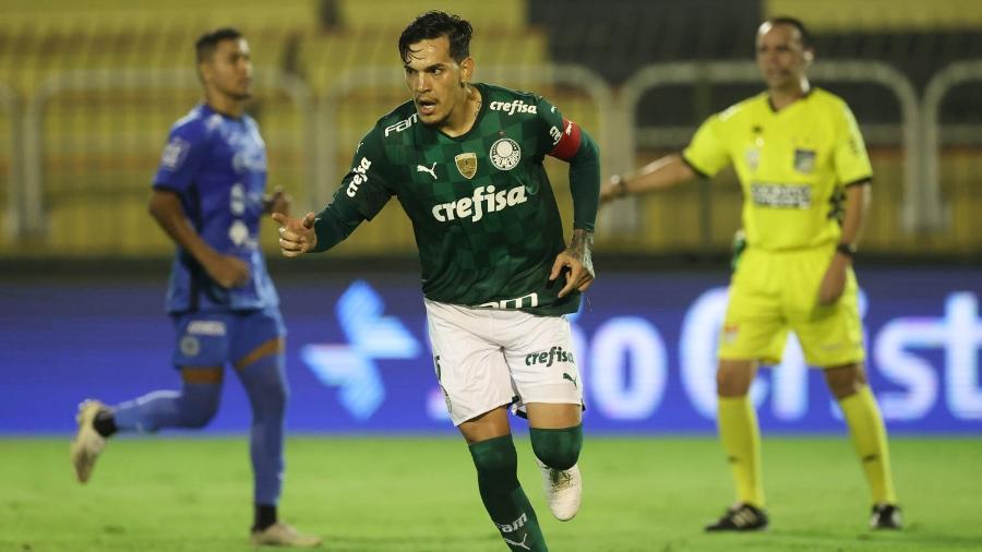 Gustavo Gómez comemora gol do Palmeiras contra o São Bento no último jogo disputado no Campeonato Paulista 2021 - Cesar Greco