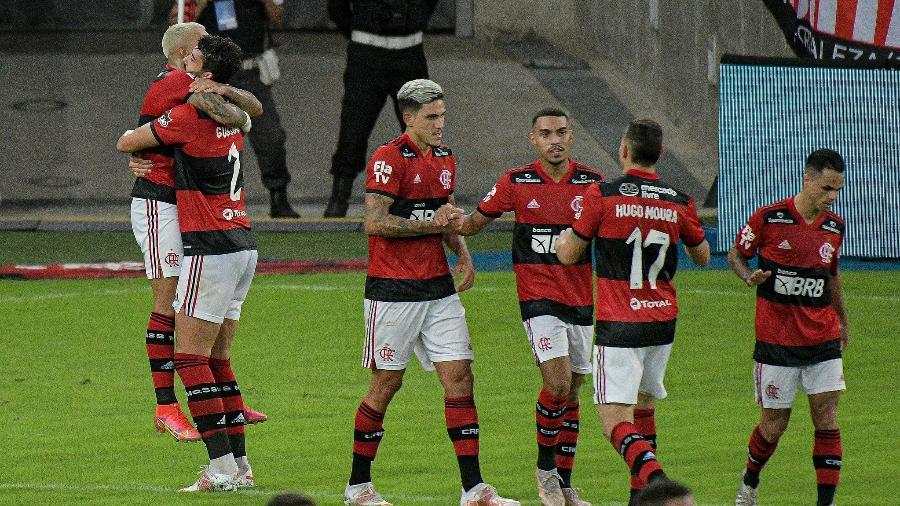 Jogadores do Flamengo comemora gol sobre o Volta Redonda, na semifinal do Campeonato Carioca - Alexandre Vidal / Flamengo