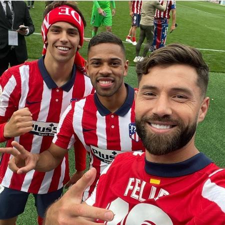 Felipe celebra título do Atlético de Madri com Renan Lodi e João Felix - Reprodução/Instagram
