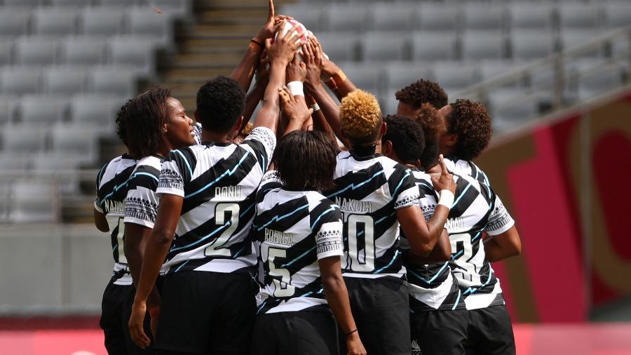 Seleção de Fiji durante partida contra o Brasil no rúgbi nas Olimpíadas de Tóquio - REUTERS/Edgard Garrido