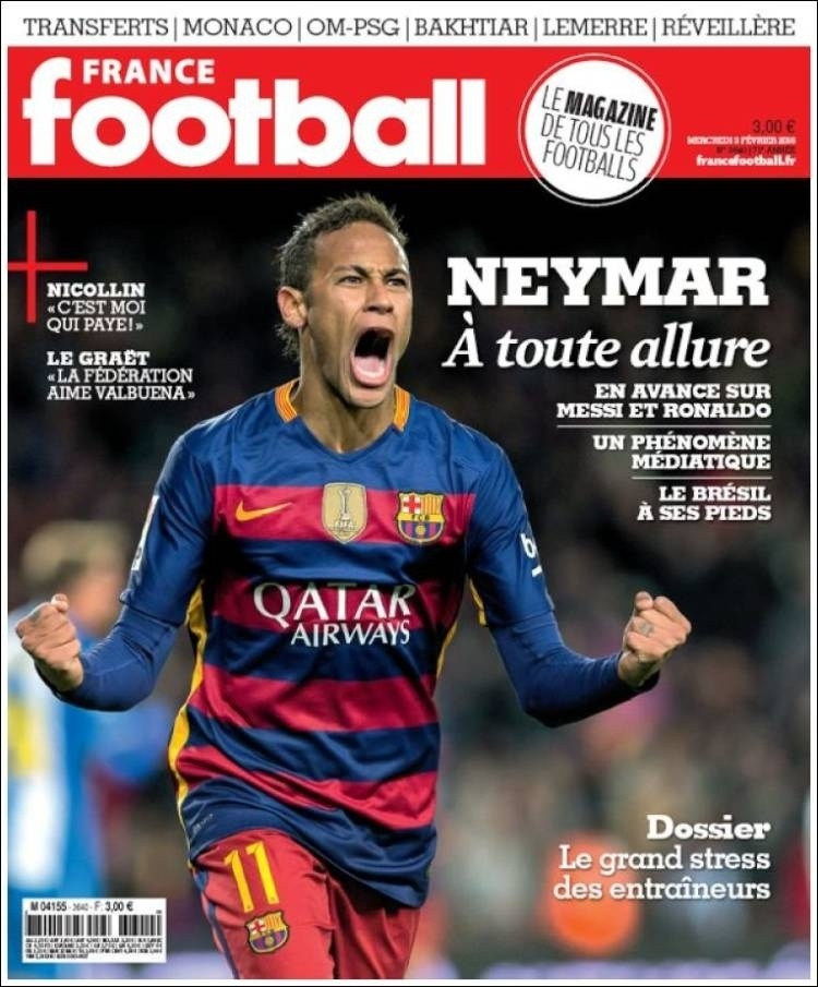 Neymar estampa capa da revista France Football