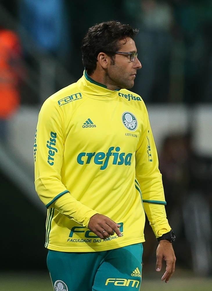 Alberto Valentim comanda o Palmeiras no segundo tempo da partida contra o Fluminense