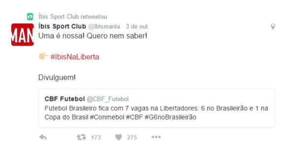 Íbis brinca com novas vagas para times brasileiros na Libertadores