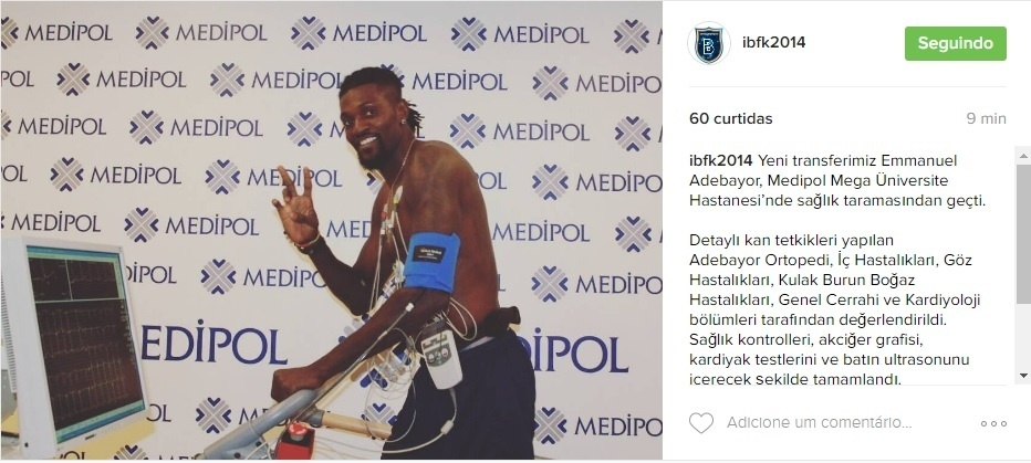 Emmanuel Adebayor é o mais novo reforço do ?stanbul Ba?ak?ehir