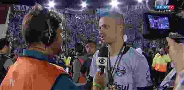 Craque da Libertadores, Luan pintou o cabelo de azul para comemorar - Reprodução/Sportv
