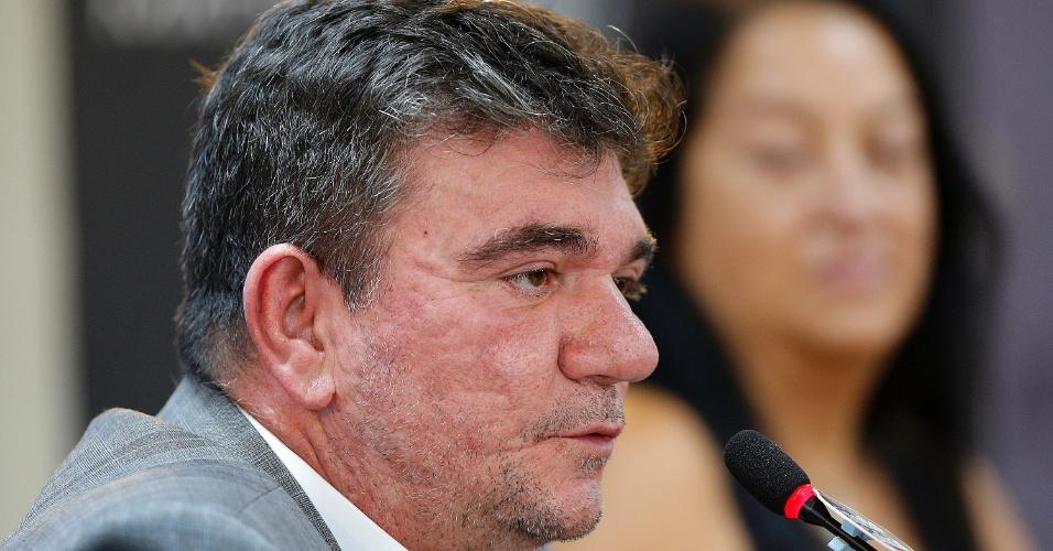 Andrés Sanchez, presidente do Corinthians, durante entrevista coletiva em fevereiro de 2018