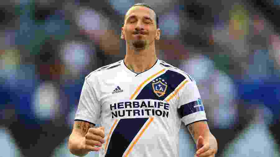 Ibrahimovic se lamenta durante jogo do Los Angeles Galaxy - Sean M. Haffey/Getty Images