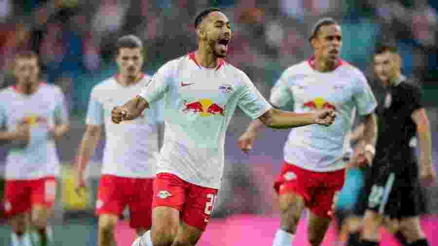 Matheus Cunha comemora gol pelo Leipzig, da Alemanha; brasileiro concorre ao Prêmio Puskas - Divulgação/RB Leipzig