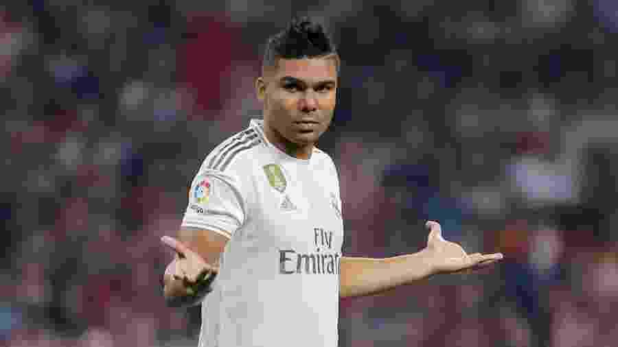 Casemiro em ação pelo Real Madrid no clássico com o Atlético - Juan Medina/Reuters