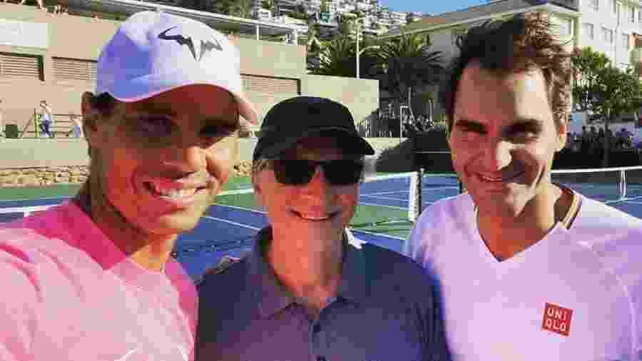 Rafael Nadal, Bill Gates e Roger Federer participam de partida beneficente na África do Sul - Reprodução/Instagram