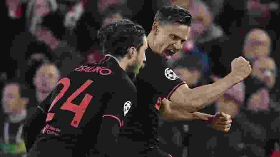 Marcos Llorente comemora seu gol para o Atlético de Madri em jogo contra Liverpool - Javier Soriano / AFP
