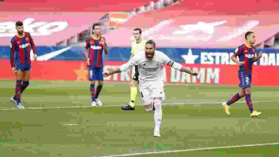 Sergio Ramos comemora gol marcado contra o Barcelona - Antonio Villalba/Real Madrid via Getty Images
