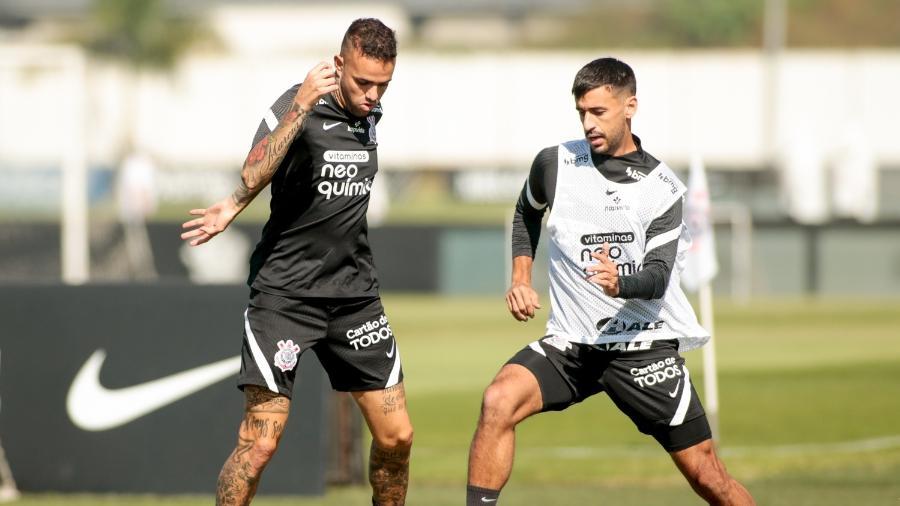 Luan e Camacho participam do treino tático do Corinthians, nesta terça-feira (04) - Rodrigo Coca/Agência Corinthians