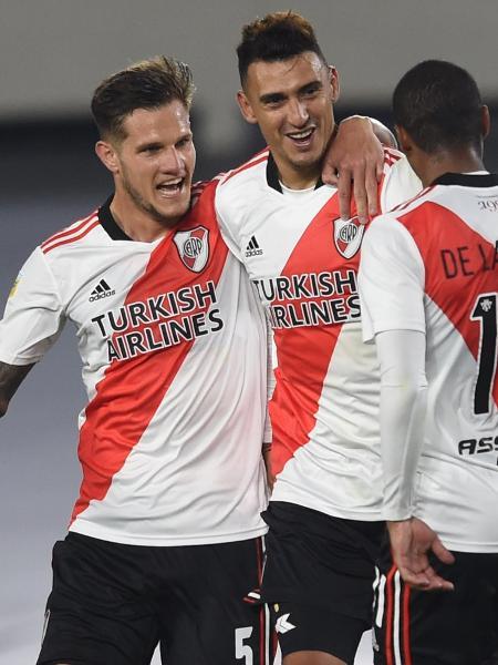 Zuculini, Suárez e De La Cruz comemoram gol do River contra Unión - Divulgação CARP