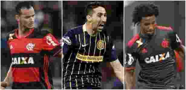 Réver, Donatti e Rafael Vaz foram os zagueiros contratados pelo Flamengo - Montagem com fotos de Gilvan de Souza/ Flamengo e Agustine Marcarian/Reuters