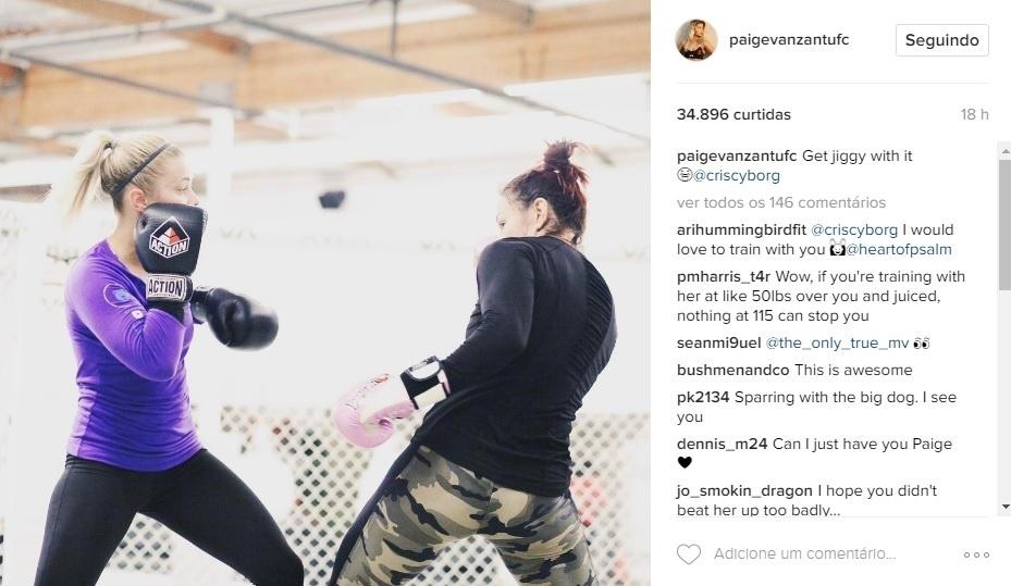 Paige VanZant treina e tieta Cris Cyborg