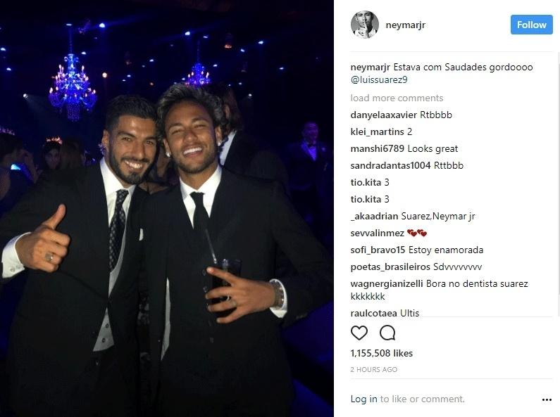 Neymar publicou foto no Instagram ao lado de Suárez no casamento de Messi