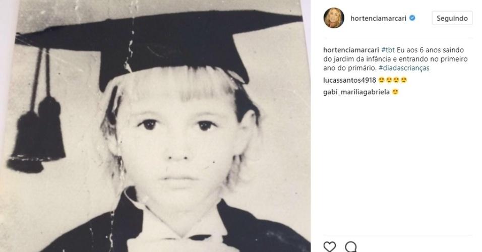 Hortência posta foto quando ainda era criança