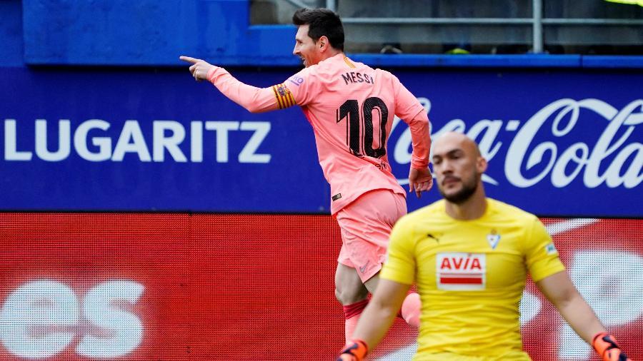 Messi comemora gol sobre o Eibar pelo Espanhol  - REUTERS/Vincent West