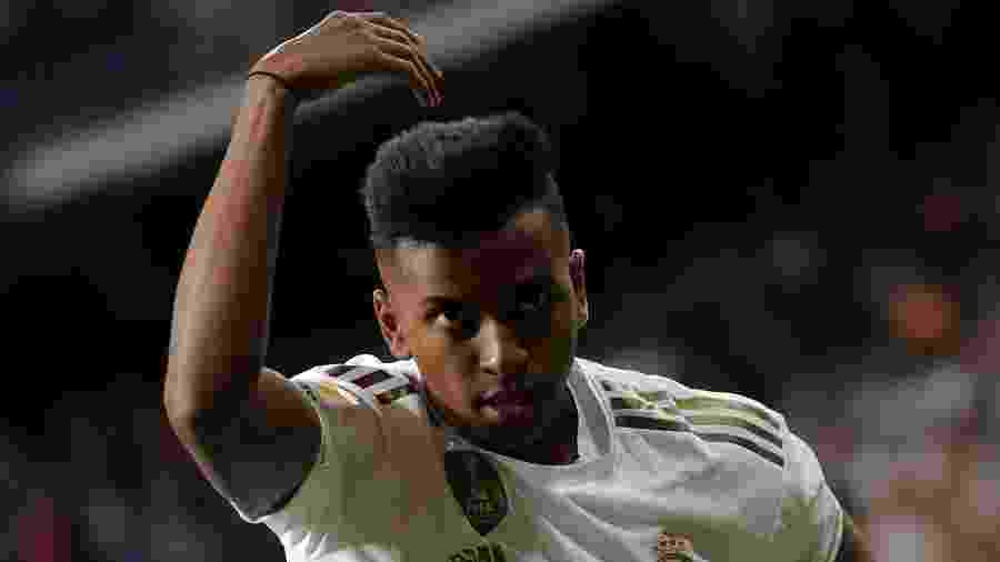 Rodrygo comemora gol do Real Madrid contra o Osasuna - REUTERS/Juan Medina