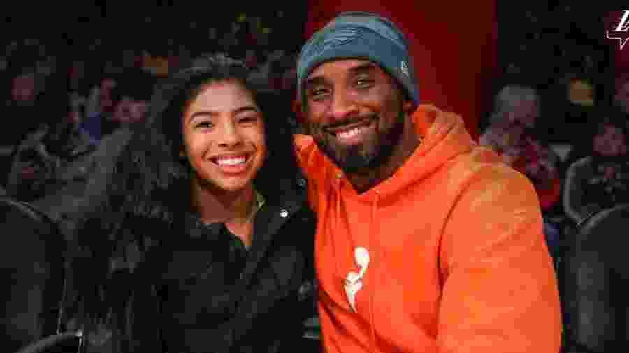 Gianna Bryant e seu pai, Kobe - Divulgação/ LA Lakers