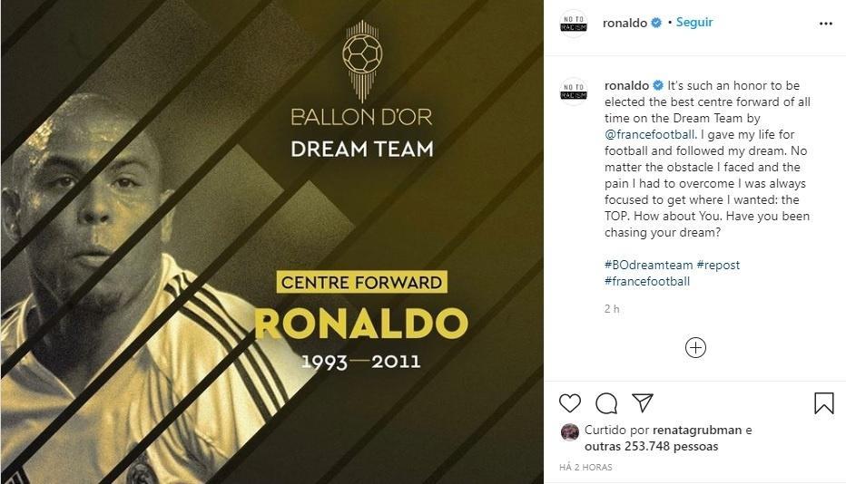 Ronaldo foi eleito o melhor centroavante da história