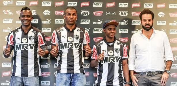 Hyuri, Erazo e Cazares foram apresentados pelo presidente Daniel Nepomuceno como reforços do Atlético-MG