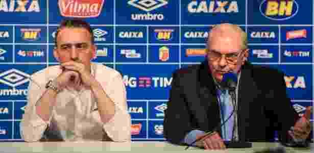 Paulo Bento (à esquerda) e Gilvan de Pinho Tavares em apresentação do técnico português no Cruzeiro - Pedro Vilela/Light Press/Cruzeiro