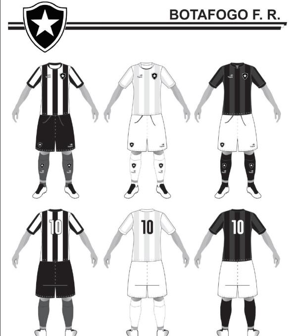 Uniformes 1, 2 e 3 do Botafogo