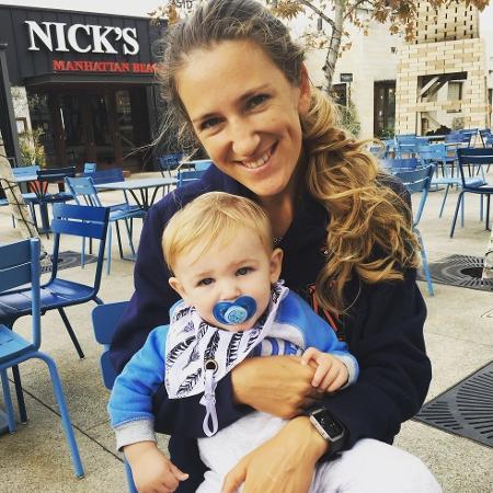 Azarenka com o filho Leo - Reprodução/Twitter