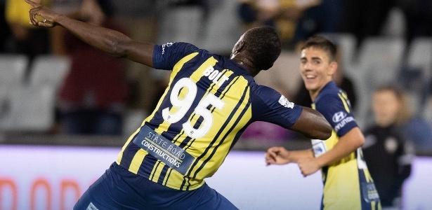 Bolt comemorou os gols com a já clássica comemoração do raio