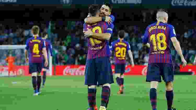Messi e Suarez comemoram gol contra o Betis - Marcelo Del Pozo/Reuters - Marcelo Del Pozo/Reuters