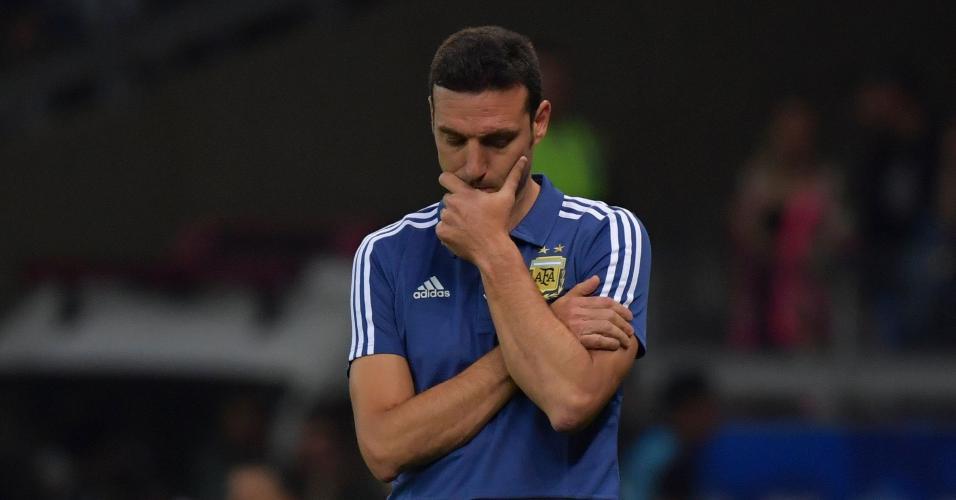 Scaloni, durante partida entre Argentina e Paraguai