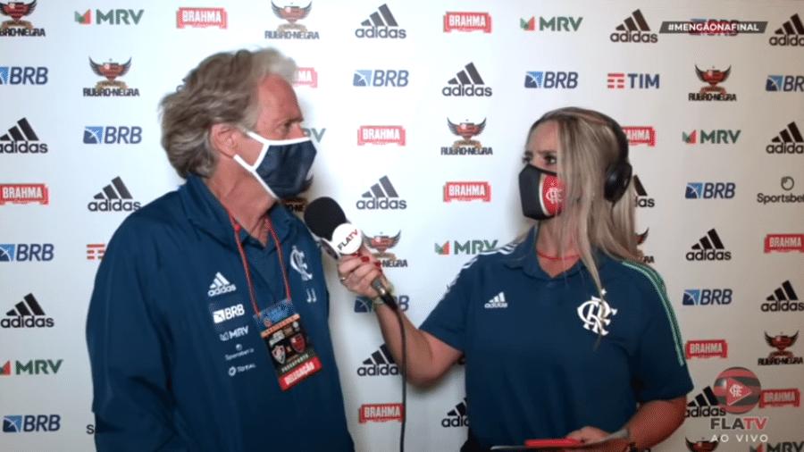 Jorge Jesus dá entrevista à Fla TV após perder a Taça Rio para o Fluminense nos pênaltis: faltou a pergunta obrigatória - Reprodução Fla TV
