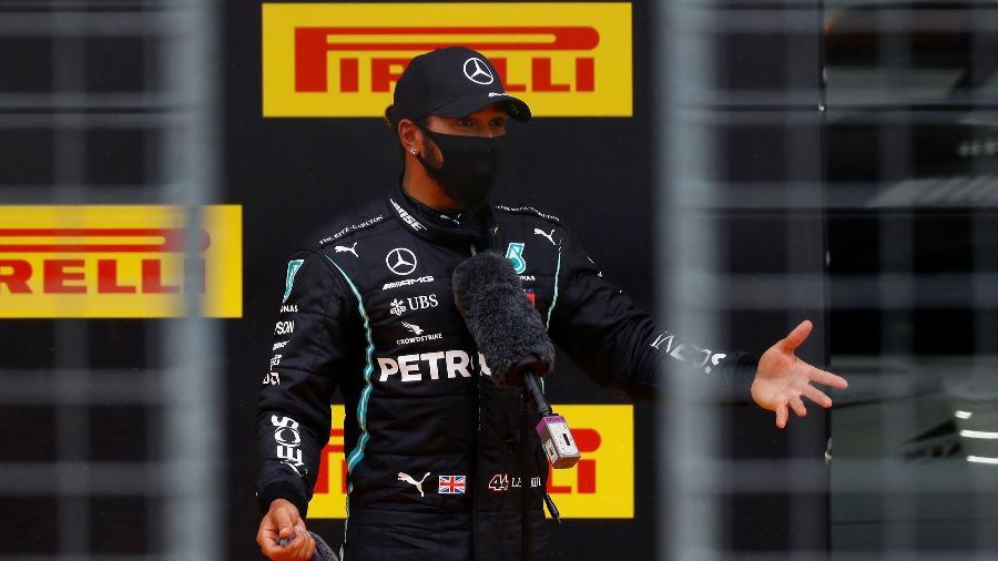 Lewis Hamilton conquistou a pole position com a Mercedes no GP da Estíria - LEONHARD FOEGER / POOL / AFP