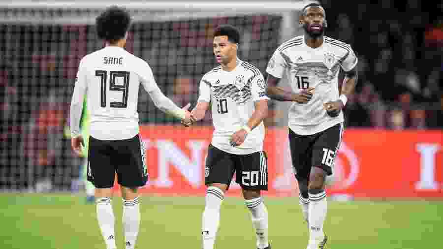 Sané, Gnabry e Rudiger, da Alemanha, que enfrentará amanhã a Suíça, em partida da Liga das Nações - VI Images via Getty Images