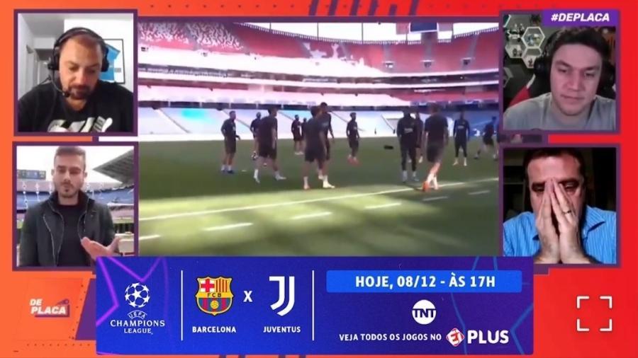 Repórter do Esporte Interativo se emociona com reencontro entre Messi e CR7 - Reprodução/Esporte Interativo