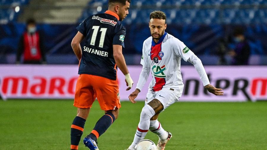 Neymar durante a partida entre Montpellier e PSG, pela semifinal da Copa da França - AFP