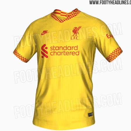 Suposta nova camisa 3 do Liverpool é toda amarela, com detalhes em vermelho - Reprodução/FootyHeadlines.com