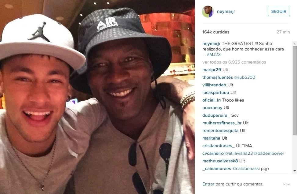 Neymar aproveita férias nos Estados Unidos para conhecer Michael Jordan, ex-jogador de basquete