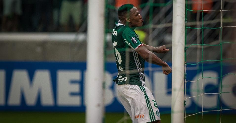 Mina comemora o gol da vitória do Palmeiras sobre o Jorge Wilstermann, no Allianz Parque