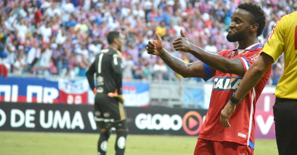 Stiven Mendoza comemora gol do Bahia contra a Ponte Preta
