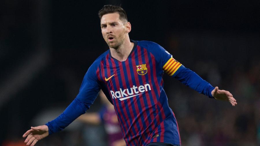 Lionel Messi, atacante do Barcelona, celebra gol em partida contra o Real Betis - Jorge Guerrero/AFP