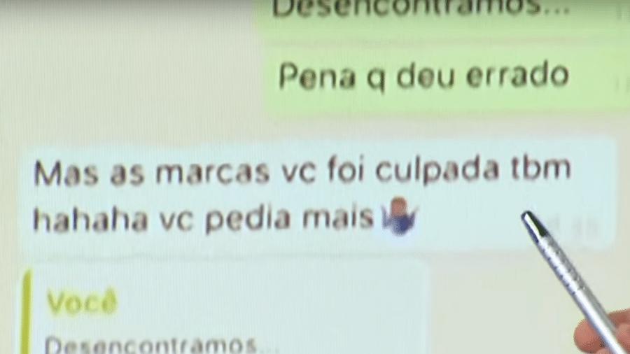Neymar e Najila trocam mensagens pelo WhatsApp - Reprodução/Record