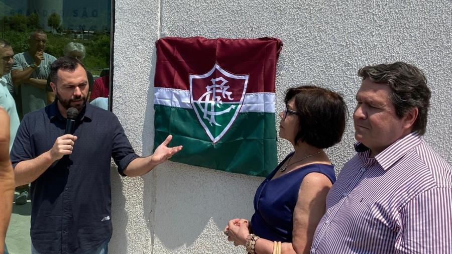 Presidente Mario Bittencourt inaugura placa com novo nome do CT do Fluminense - Caio Blois / UOL Esporte