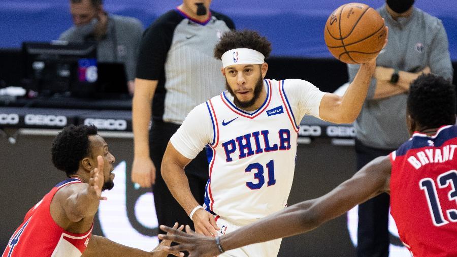 Seth Curry, jogador do Philadelphia 76ers, testou positivo para a covid-19 - Bill Streicher-USA TODAY Sports