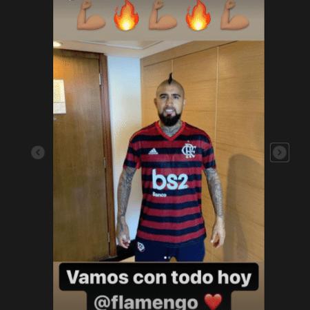 Arturo Vidal á mostrou torcida pelo Flamengo em outra ocasião - Reprodução/Instagram