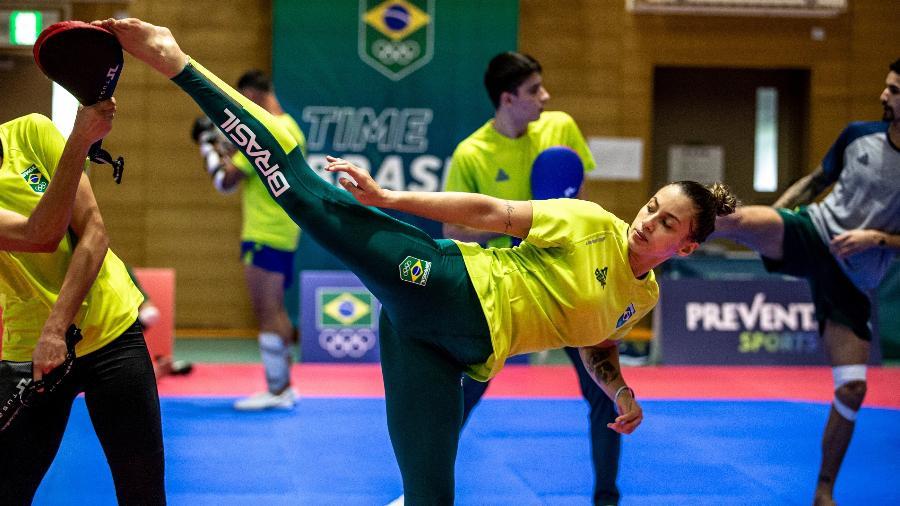 Milena Titoneli, brasileira do taekwondo, em treino durante os Jogos Olímpicos de Tóquio - Miriam Jeske/COB