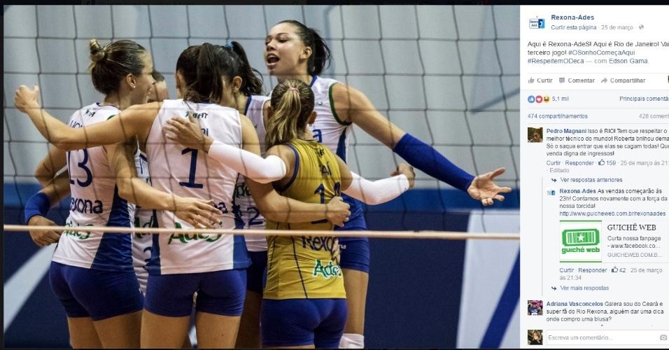 Rio de Janeiro comemora vitória no segundo jogo da série semifinal contra o Osasco na Superliga