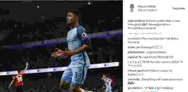 Gabriel Jesus posta foto pós jogo contra United e brinca com seu gol impedido - Reprodução/Instagram - Reprodução/Instagram